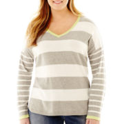 Liz Claiborne® Long-Sleeve Striped V-Neck Sweater - Plus