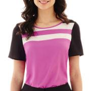 Worthington® Short-Sleeve Colorblock Blouse