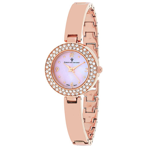 Christian Van Sant Womens Rose Goldtone Bracelet Watch-Cv8614