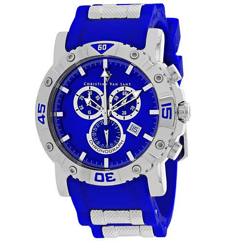 Christian Van Sant Mens Blue Strap Watch-Cv0512
