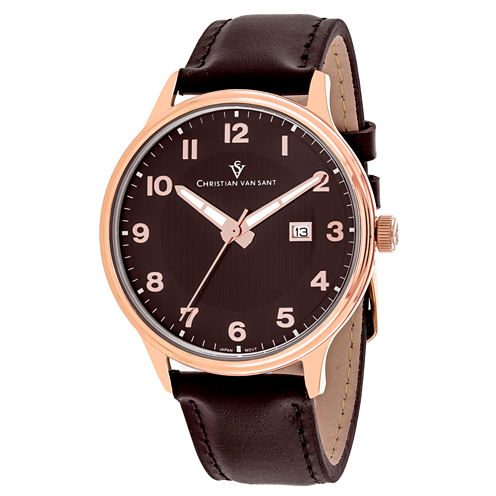 Christian Van Sant Mens Brown Strap Watch-Cv9811