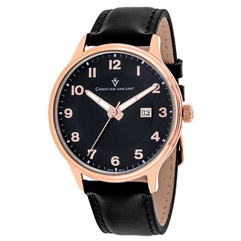 Christian Van Sant Mens Black Strap Watch-Cv9812