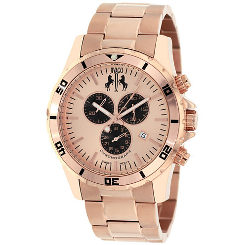 Jivago Mens Rose Goldtone Bracelet Watch-Jv6123