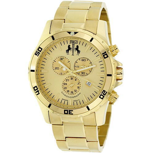 Jivago Mens Gold Tone Bracelet Watch-Jv6124