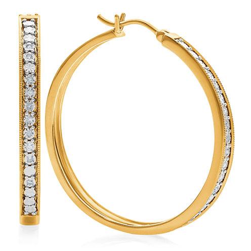 1/10 CT. T.W. White Diamond Hoop Earrings