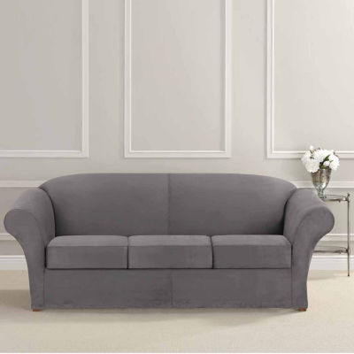 Genial SURE FIT® Ultimate Heavyweight Stretch Suede 3 Cushion Separate Seat Sofa  Slipcovers