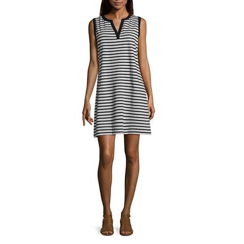 Liz Claiborne Sleeveless Stripe A-Line Dress