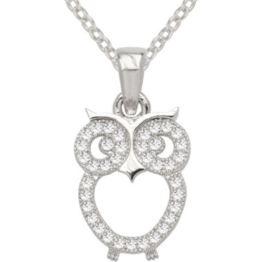 jcpenney.com | Sparkle Allure™ Pure Silver Plated Cubic Zirconia Fashion Owl Pendant Necklace