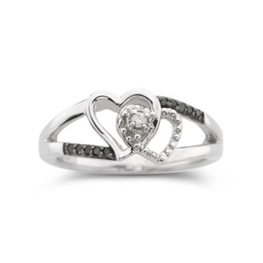 jcpenney.com | Black & White Diamond-Accent Two Hearts Ring