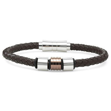 jcpenney.com | Mens Leather & Stainless Steel Fashion Bracelet