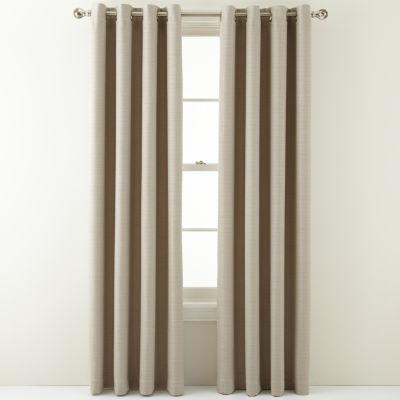 MarthaWindow™ Hampton Basketweave Grommet-Top Curtain Panel