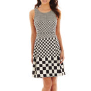 Worthington® Sleeveless Checked Fit-and-Flare Dress
