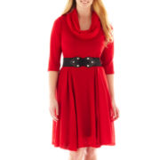 Robbie Bee® Infinity Scarf Belted Sweater Dress - Plus