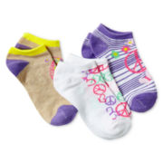 Maidenform 3-pk. Peace Sign Low-Cut Socks - Girls