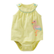 Carter's® Flamingo Sleeveless Romper - Girls newborn-24m