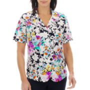Alfred Dunner® Flower Waltz Short-Sleeve Floral Print Blouse - Petite