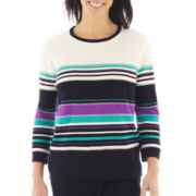 Alfred Dunner® Flower Waltz 3/4-Sleeve Striped Sweater