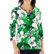 Alfred Dunner® Greenwich Circle 3/4-Sleeve Floral Print Tunic Top