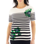 Alfred Dunner® Greenwich Circle Short-Sleeve Striped Floral Sweater