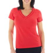 Lark Lane® Coral Gables Embellished Cap-Sleeve Top