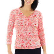 Lark Lane® Coral Gables 3/4-Sleeve Spanish Tile Print Surplice Top