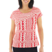 Lark Lane® Coral Gables Short-Sleeve Patchwork Print Top