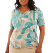 Alfred Dunner® When in Rome Short-Sleeve Abstract Floral Print Sweater - Plus
