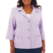 Alfred Dunner Provence 3/4-Sleeve Solid Jacket - Plus