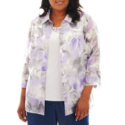 Alfred Dunner Provence 3/4-Sleeve Layered Burnout Shirt - Plus