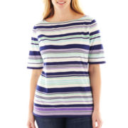 Liz Claiborne Short-Sleeve Boatneck Striped Tee - Plus