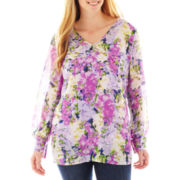 Liz Claiborne Long-Sleeve Garden Floral Blouse with Cami - Plus
