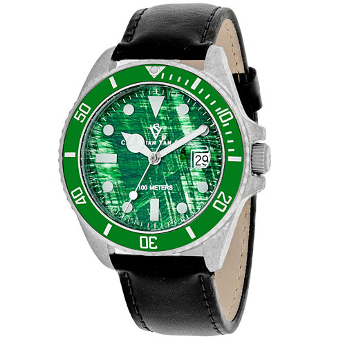 Christian Van Sant Mens Black Strap Watch-Cv5102lb