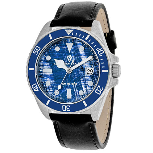 Christian Van Sant Mens Black Strap Watch-Cv5103lb