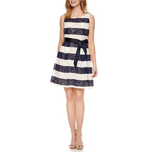 Robbie Bee Sleeveless Lace Stripe Fit & Flare Dress