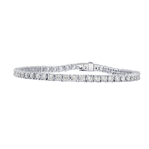 Womens 3 CT. T.W. White Diamond 14K Tennis Bracelet
