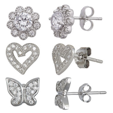 jcpenney.com | 3-pc. 2 CT. T.W. White Cubic Zirconia Sterling Silver Earring Sets