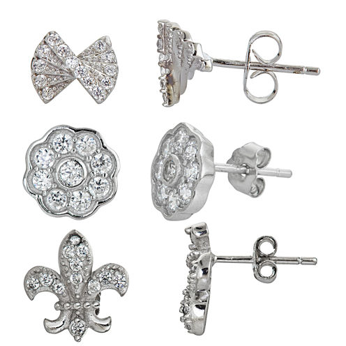 3-pc. 2 CT. T.W. White Cubic Zirconia Sterling Silver Earring Sets