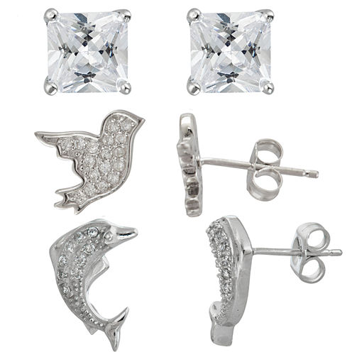 3-pc. 3 CT. T.W. White Cubic Zirconia Sterling Silver Earring Sets
