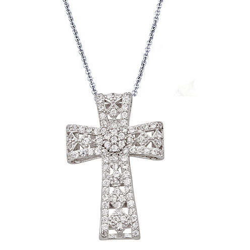 Womens 1 1/5 CT. T.W. White Cubic Zirconia Sterling Silver Pendant Necklace