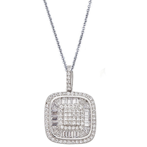Womens White Cubic Zirconia Sterling Silver Pendant Necklace