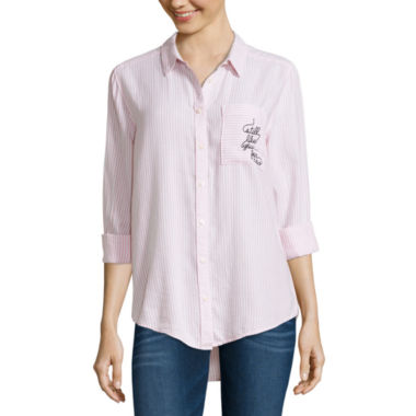 jcpenney.com | Arizona Long Sleeve Embroidered Stripe Shirt-Juniors