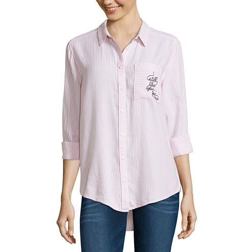 Arizona Long Sleeve Embroidered Stripe Shirt-Juniors