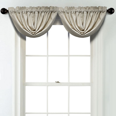JCPenney Home Linen Rod Pocket Poly-Cotton Lined Waterfall Valance