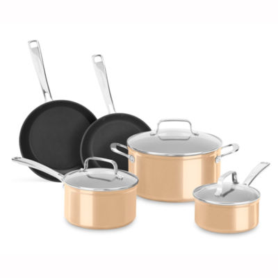 Kitchen aid 8 pc hard anodized non stick cookware set for 8 pc kitchen set