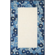 Martha Stewart Rugs™ Poppy Border Rectangular Rugs – Azurite Blue