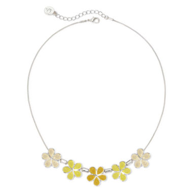 jcpenney.com | Liz Claiborne® Yellow Stone Silver-Tone Collar Necklace
