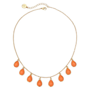 jcpenney.com | Liz Claiborne® Orange Stone Gold-Tone Collar Necklace