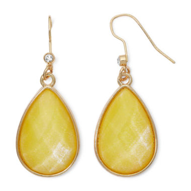 jcpenney.com | Liz Claiborne® Yellow Stone Gold-Tone Shimmer Teardrop Earrings