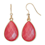 Liz Claiborne® Pink Stone Gold-Tone Shimmer Teardrop Earrings