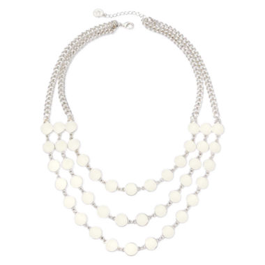 jcpenney.com | Liz Claiborne® White Bead Silver-Tone 3-Row Statement Necklace
